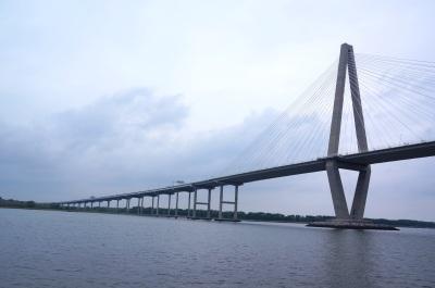 closer view of Arthur Ravenel Jr. Bridge, also known as the New Cooper River Bridge, aboard the The General Beauregard Harbor Cruise