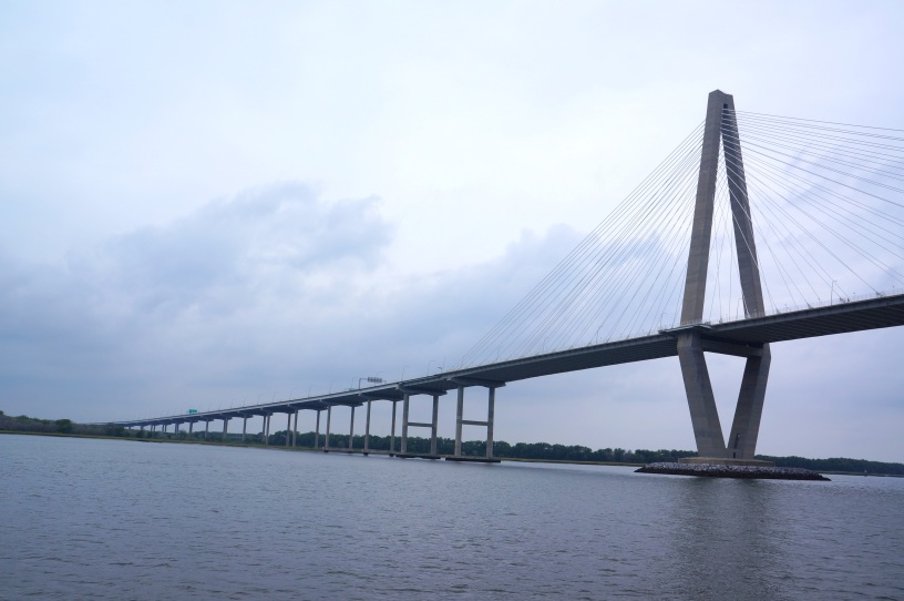 closer view of Arthur Ravenel Jr. Bridge, also known as the New Cooper River Bridge, aboard the The General Beauregard Harbor Cruise