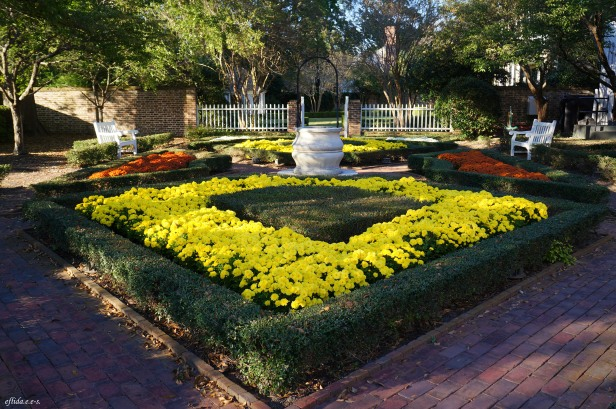 A little garden behind one of the homes that George Washington stayed in Tryon Palace, New Bern, North Carolina.