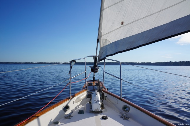 Cruising Neuse River in New Bern, North Carolina aboard the 43 foot sail Nirvana navigated by Captain Malinda Cayton.