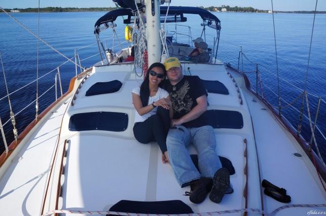 Hubby and I cruising Neuse River in New Bern, North Carolina aboard the 43 foot sail Nirvana navigated by Captain Malinda Cayton.
