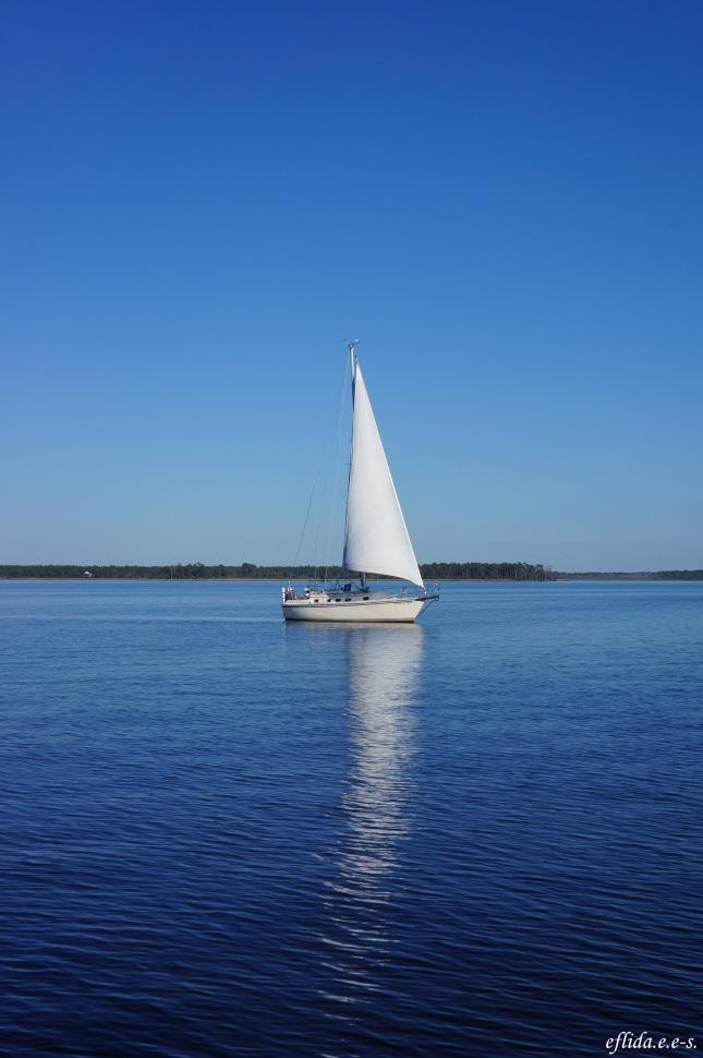 Other sailboat cruising Neuse River in New Bern, North Carolina.