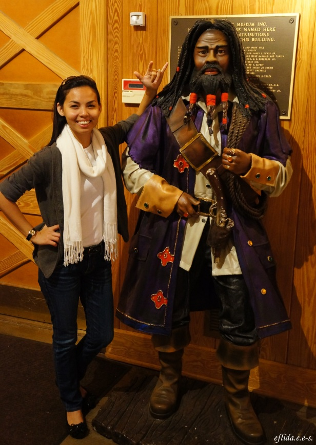 With the famous pirate Blackbeard at North Carolina Maritime Museum in Beaufort.