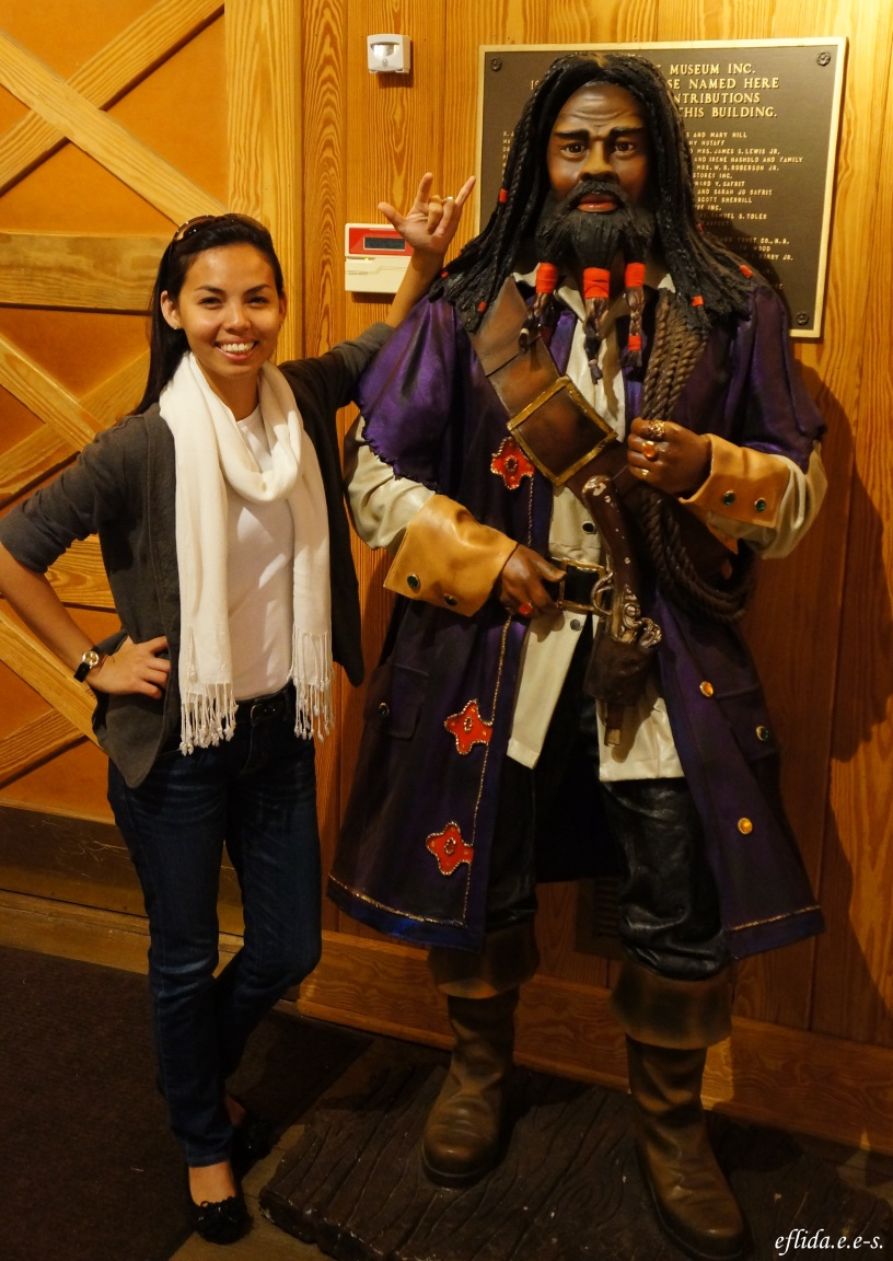 with the famous pirate Blackbeard at North Carolina Maritime Museum, Beaufort