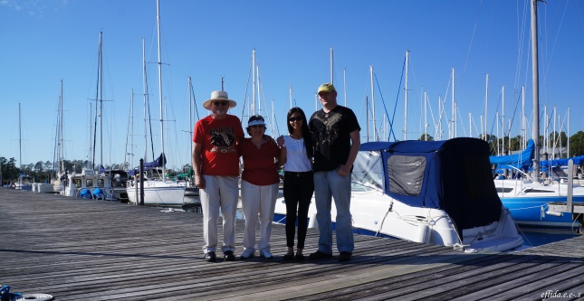 With hubby and parents-in-law at Northwest Creek Marina in New Bern, North Carolina.