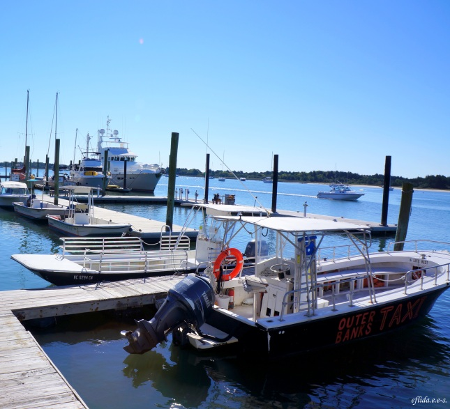 The Outer Banks Ferries kicking off from Beaufort to Cape Lookout in North Carolina.