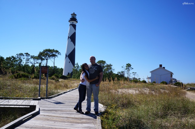 Hubby and I with the Cape Lookout Lighthouse as our background in the Southern Outer Banks, North Carolina.