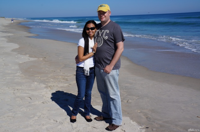 Hubby and I at Cape Lookout with the Atlantic Ocean as our background.