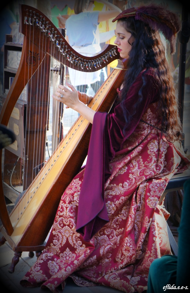 Harpist Sarah Mullen  at Carolina Renaissance Faire 2012 at Charlotte, North Carolina.