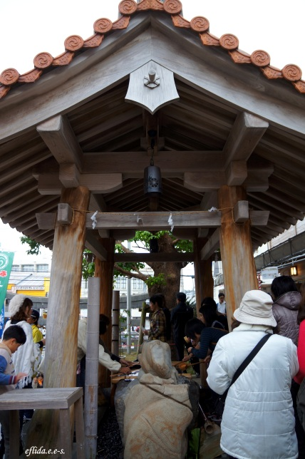 Temizuya is where people rinse their mouth and hands with water in ritual purification during hatsumode in Futenma Shrine, Ginowan, Okinawa, Japan.