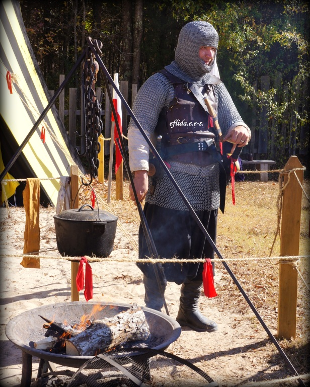Medieval knights setting up their village at Carolina Renaissance Faire 2012 in Charlotte, North Carolina.