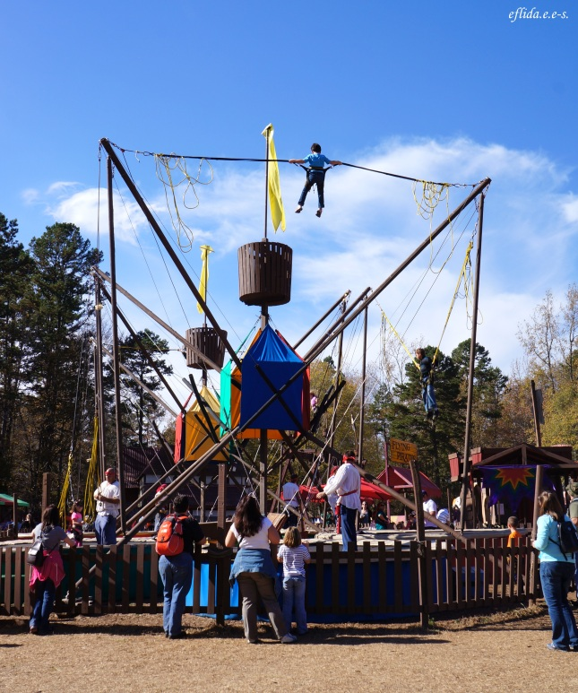 Stationary bungee jump at Carolina Renaissance Faire 2012 in Charlotte, North Carolina.