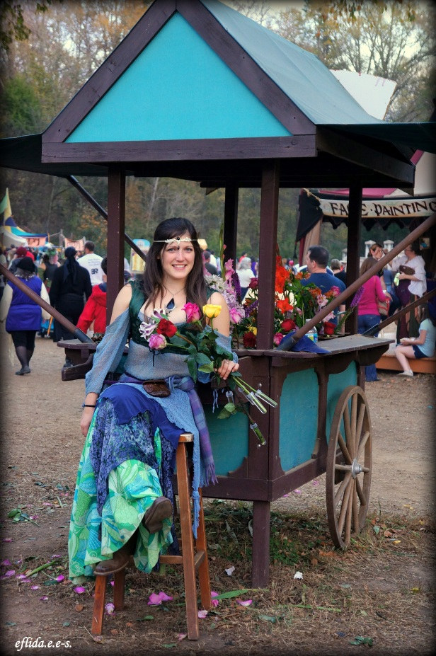 Flower lady at Carolina Renaissance Faire 2012 in Charlotte, North Carolina.