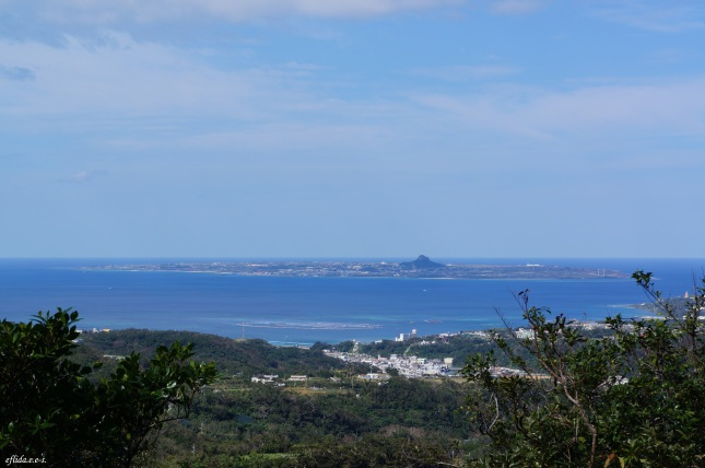 A spectacular view of Motobu town and Ie Island from the top of Mt.Yaedake, Motobu, Okinawa, Japan.