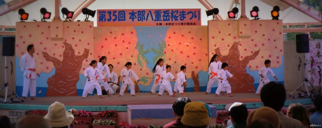 Some karate performances during the 35th Annual Yae-dake Sakura Matsuri at Mt.Yaedake, Motobu, Okinawa.