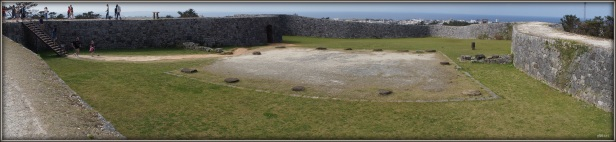 A panoramic view of the Zakimi castle ruins in Okinawa, Japan.