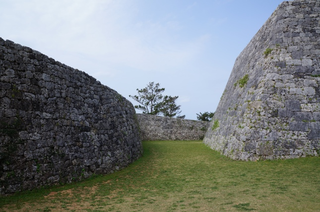 The gigantic walls of the Zakimi castle in Okinawa, Japan built by Gosamaru who was said to be a warrior who helped unify the different conflicting kingdoms of Okinawa.