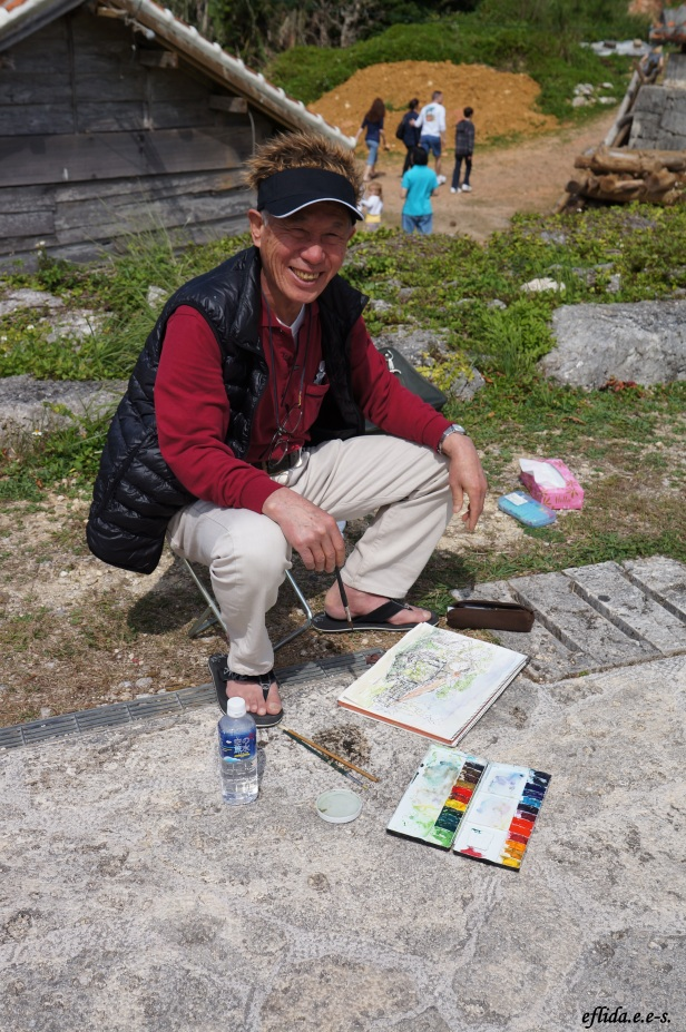 One of the artists painting in Yomitan Pottery Village in Okinawa, Japan.