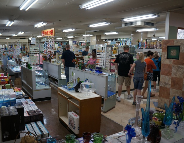 Inside the shop of handmade glass products at Onna Glass Craft Learning Center in Okinawa, Japan.