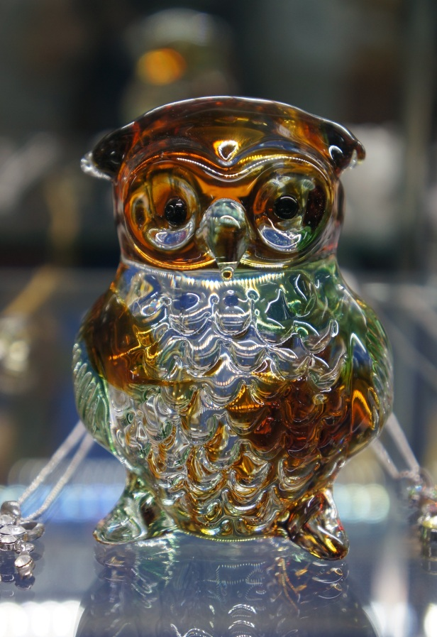 One of the handmade glass products for sale at the shop in Onna Glass Craft Learning Center in Okinawa, Japan.