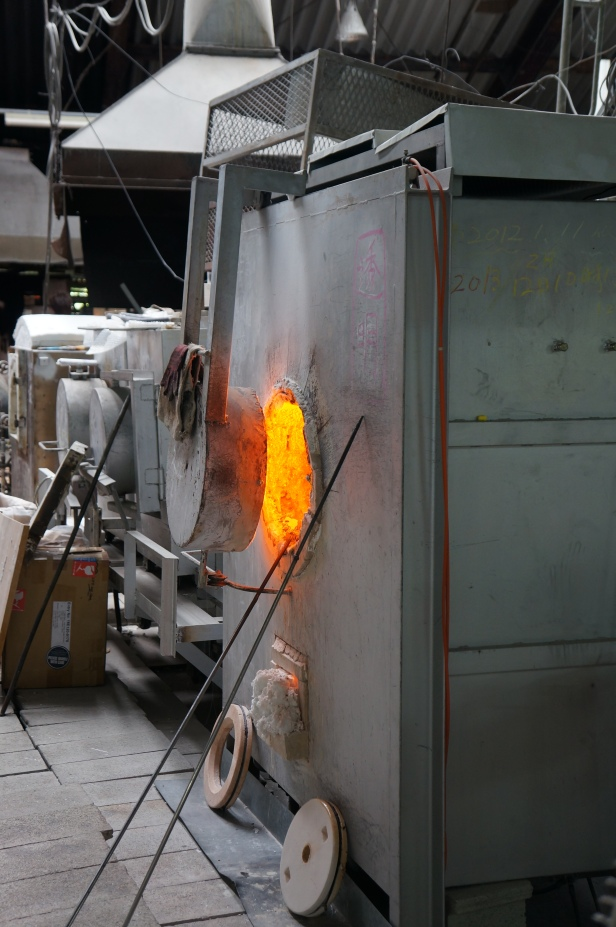 The art of hand making glass at Onna Glass Craft Learning Center in Okinawa, Japan.
