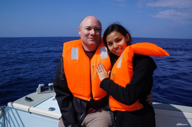 Hubby and I on our whale watching tour in Okinawa, Japan.
