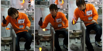 The art of hand making glass at Onna Glass Studio in Okinawa.
