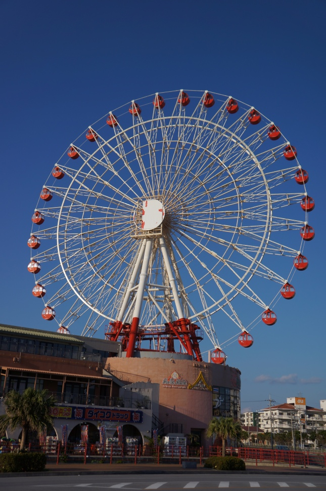 The large ferris wheel is the most well-known landmark of Mihama American Village in Chatan, Okinawa, Japan.