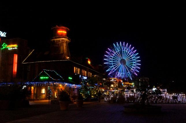 An illuminated Mihama American Village in Chatan, Okinawa, Japan.