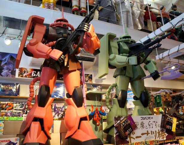 Giant Gundam displayed at Kokusaidori (Kokusai Street) in Naha City, Okinawa, Japan.