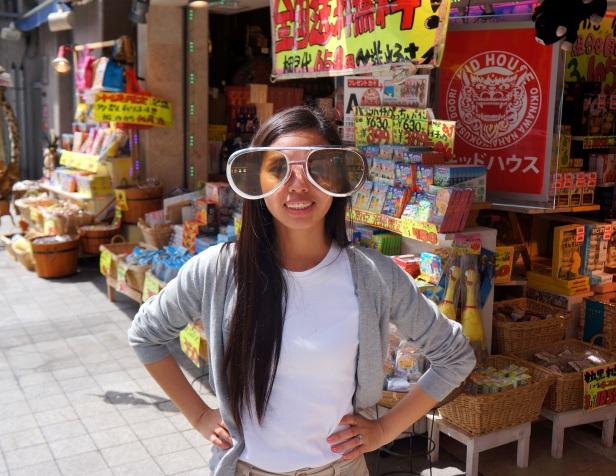 Having fun at one of the souvenir shops in Kokusaidori (Kokusai Street) in Naha City, Okinawa, Japan.