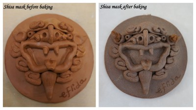My first self-crafted shisa mask before and after it was baked.