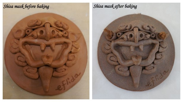 My first self-crafted shisa mask iin Okinawa, Japan before and after it was baked.