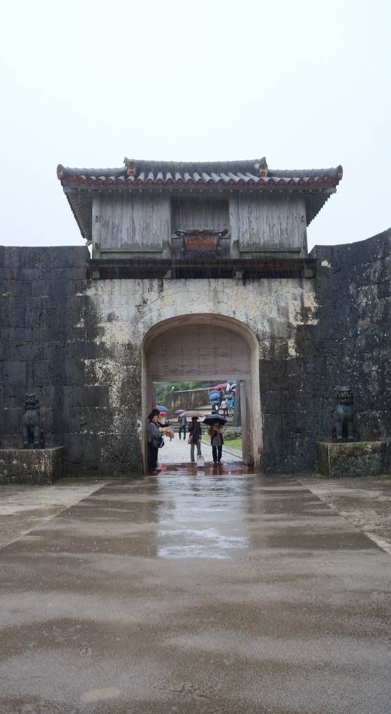 The Kankaimon gate at Shuri Castle in Naha City, Okinawa, Japan.
