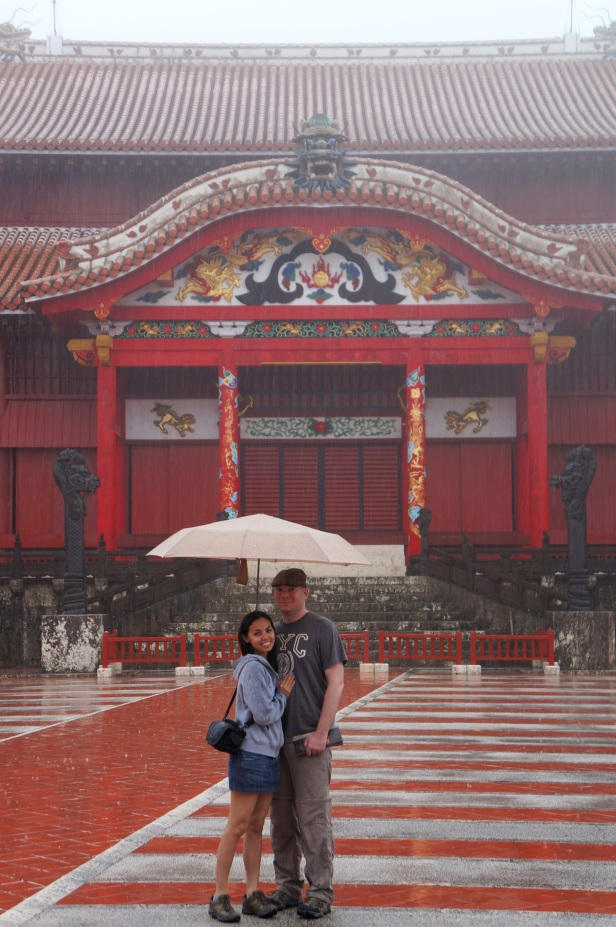 Hubby and I standing in the courtyard of Shuri Castle in Naha City, Okinawa, Japan.