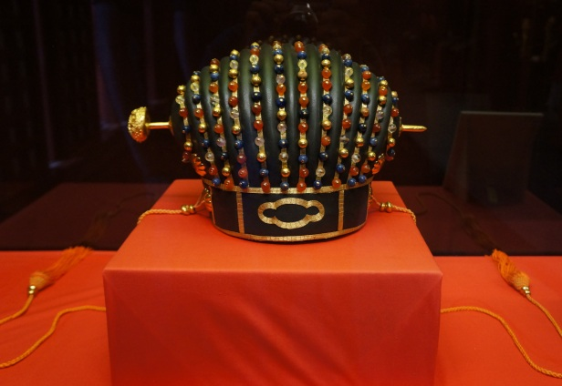 A replica of the king's crown as exhibited inside Shuri Castle in Naha City, Okinawa, Japan.