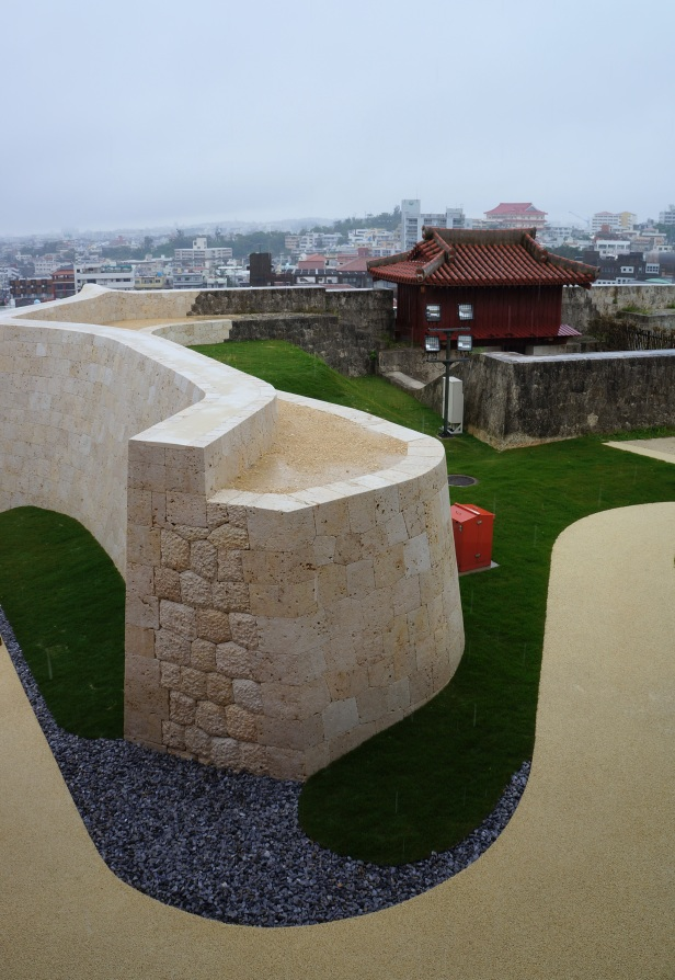 The walls at Shuri Castle in Naha City, Okinawa, Japan.