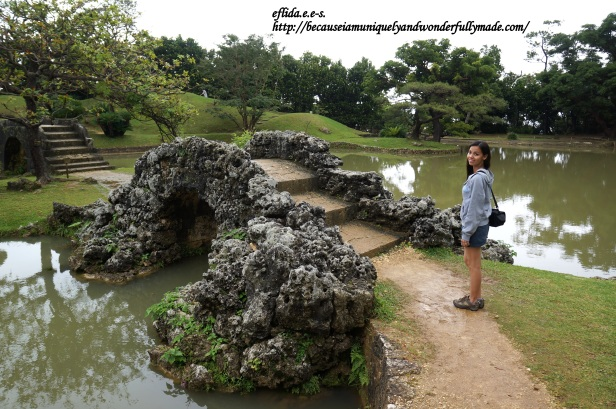The stone bridge at Shikinaen Garden in Okinawa, Japan.