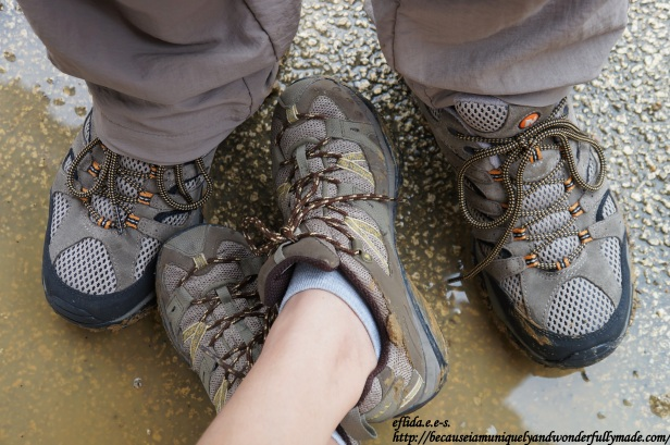 Our happy (and muddy) feet after trekking the breathtaking Shikinaen Gardens in Okinawa, Japan on a rainy spring day.