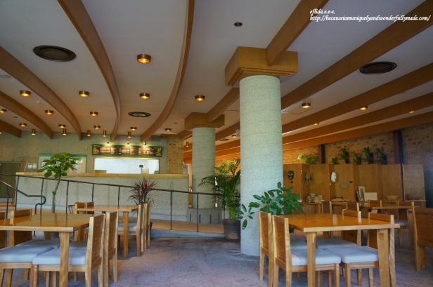 The Lounge offers a place for light snacks as you enjoy a view overlooking a koi pond in Tropical Dream Center at Ocean Expo Park in Motobu, Okinawa, Japan.