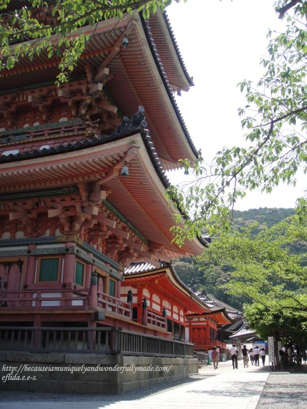 The three-storied pagoda at Kiyomizu-dera Temple in Kyoto, Japan.