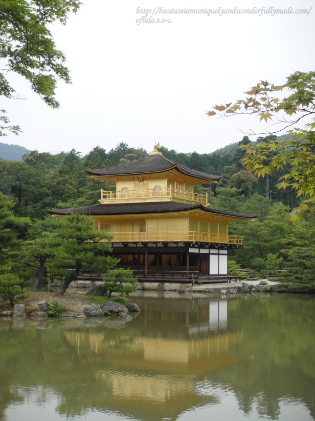 "The name Kinkaku-ji has a word that means ""mirror"" and the pavilion's reflection on the pond water makes it a beauty to marvel. Kinkaku-ji in Kyoto, Japan is a must see while in the country."