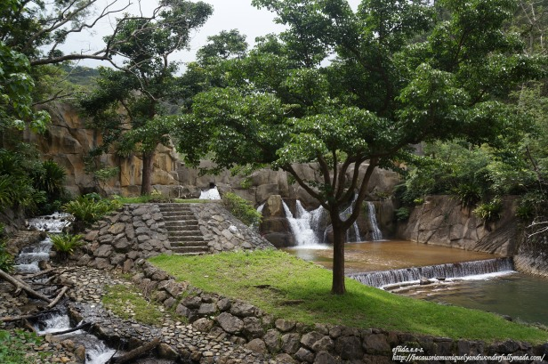 The first sight to greet you on the trail towards Hiji Falls is the dam which was made to look like a natural waterfall.