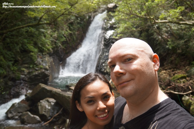 Hubby and I feeling accomplished witnessing the beauty of the Hiji Falls in the northern part of Okinawa, Japan on our first year wedding anniversary.