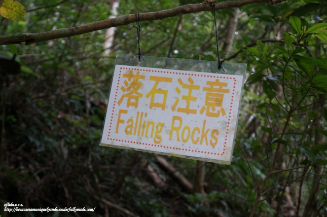 Falling rocks along the way are something to be cautious about while hiking the trail to Hiji Falls in Okinawa, Japan.