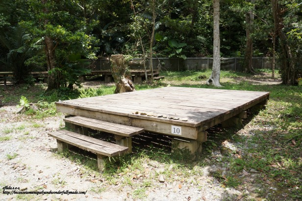 Japanese picnic table at Hiji Falls trail in Okinawa, Japan.