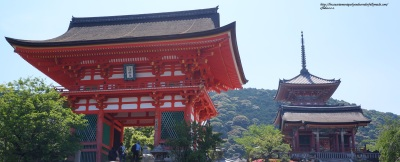 The Deva gate and three-storied pagoda at Kiyomizu-dera Temple in Kyoto designated as Historic Monuments of Ancient Kyoto UNESCO World Cultural Heritage Site.