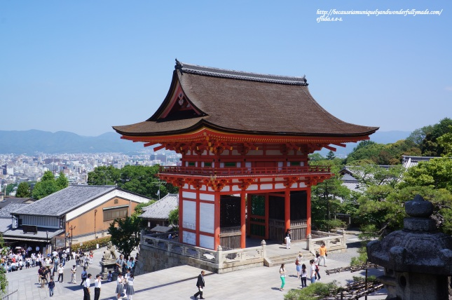 The Deva Gate at Kiyomizu-dera Temple overlooking the city of Kyoto, Japan.