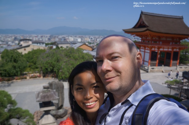 Hubby and I with an overlooking view of Kyoto City at Kiyomizu-dera Temple.