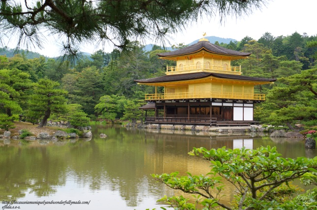 Kinkaku in Kyoto, Japan, famously known as the Golden Pavilion, is a three-story structure overlooking a pond, the top two floors of which are covered in thin sheets of golden leaf.